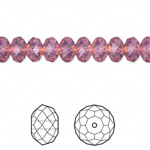bead, swarovski crystals, crystal passions, cyclamen opal, 8x6mm faceted rondelle (5040). sold per pkg of 144 (1 gross).