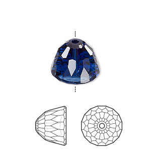 bead, swarovski crystals, crystal passions, dark indigo, 14x11mm faceted dome small (5542). sold individually.