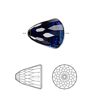 bead, swarovski crystals, crystal passions, dark indigo, 15x13.5mm faceted dome large (5541). sold individually.