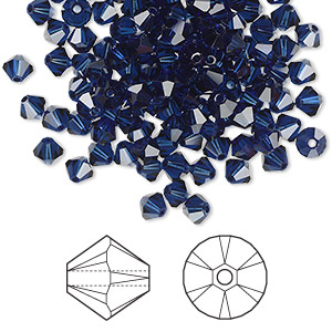 bead, swarovski crystals, crystal passions, dark indigo, 4mm xilion bicone (5328). sold per pkg of 144 (1 gross).