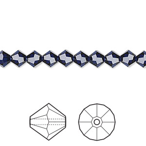 bead, swarovski crystals, crystal passions, dark indigo, 5mm faceted bicone (5301). sold per pkg of 24.