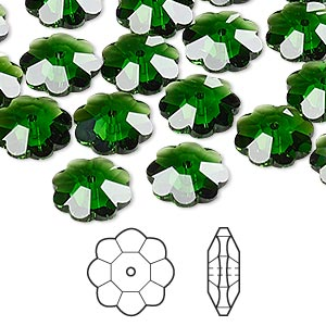 bead, swarovski crystals, crystal passions, dark moss green, 10x3.5mm faceted marguerite lochrose flower (3700). sold per pkg of 12.