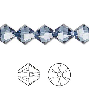 bead, swarovski crystals, crystal passions, denim blue, 10mm xilion bicone (5328). sold per pkg of 2.