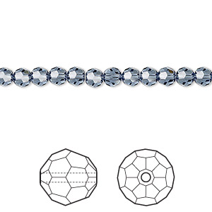 bead, swarovski crystals, crystal passions, denim blue, 4mm faceted round (5000). sold per pkg of 144 (1 gross).