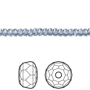 bead, swarovski crystals, crystal passions, denim blue, 4x2.5mm faceted rondelle (5045). sold per pkg of 10.