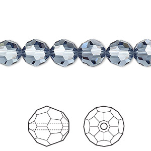 bead, swarovski crystals, crystal passions, denim blue, 8mm faceted round (5000). sold per pkg of 144 (1 gross).