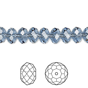 bead, swarovski crystals, crystal passions, denim blue, 8x6mm faceted rondelle (5040). sold per pkg of 144 (1 gross).