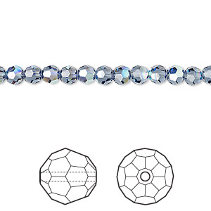 bead, swarovski crystals, crystal passions, denim blue ab, 4mm faceted round (5000). sold per pkg of 144 (1 gross).