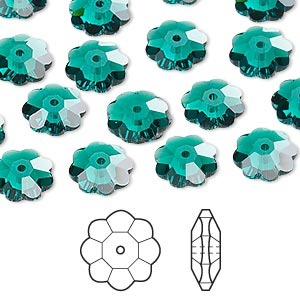 bead, swarovski crystals, crystal passions, emerald, 10x3.5mm faceted marguerite lochrose flower (3700). sold per pkg of 12.