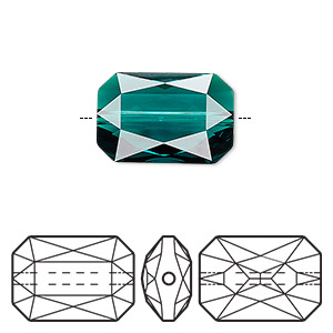 bead, swarovski crystals, crystal passions, emerald, 18x12.5mm faceted emerald cut (5515). sold individually.