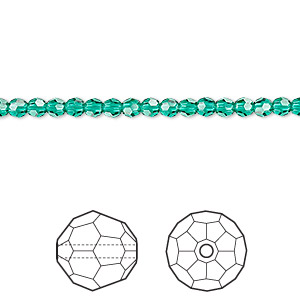 bead, swarovski crystals, crystal passions, emerald, 3mm faceted round (5000). sold per pkg of 12.