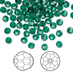 bead, swarovski crystals, crystal passions, emerald, 4mm faceted round (5000). sold per pkg of 144 (1 gross).