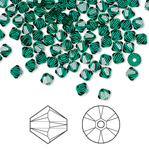 bead, swarovski crystals, crystal passions, emerald, 4mm xilion bicone (5328). sold per pkg of 144 (1 gross).