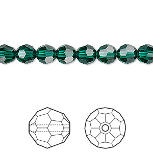 bead, swarovski crystals, crystal passions, emerald, 6mm faceted round (5000). sold per pkg of 12.