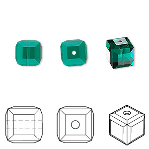 bead, swarovski crystals, crystal passions, emerald, 8x8mm faceted cube (5601). sold per pkg of 6.