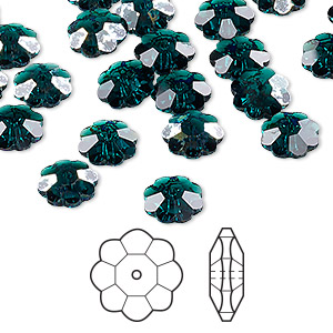bead, swarovski crystals, crystal passions, emerald white patina, 8x3mm faceted marguerite lochrose flower (3700). sold per pkg of 144 (1 gross).
