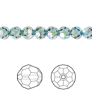 bead, swarovski crystals, crystal passions, erinite ab, 6mm faceted round (5000). sold per pkg of 12.