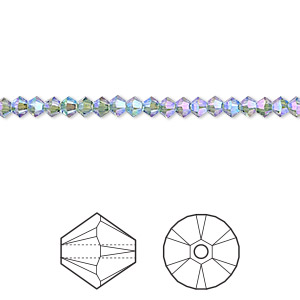 bead, swarovski crystals, crystal passions, erinite shimmer 2x, 3mm xilion bicone (5328). sold per pkg of 144 (1 gross).