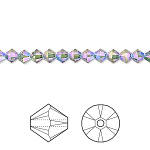 bead, swarovski crystals, crystal passions, erinite shimmer 2x, 4mm xilion bicone (5328). sold per pkg of 48.