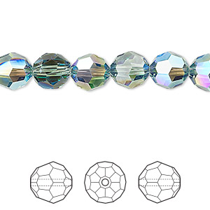 bead, swarovski crystals, crystal passions, erinite shimmer, 8mm faceted round (5000). sold per pkg of 12.