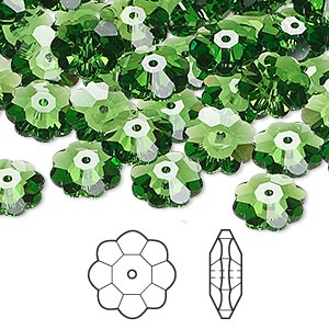 bead, swarovski crystals, crystal passions, fern green, 10x3.5mm faceted marguerite lochrose flower (3700). sold per pkg of 144 (1 gross).