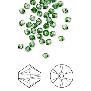 bead, swarovski crystals, crystal passions, fern green, 3mm xilion bicone (5328). sold per pkg of 144 (1 gross).