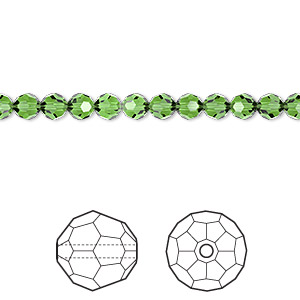 bead, swarovski crystals, crystal passions, fern green, 4mm faceted round (5000). sold per pkg of 12.