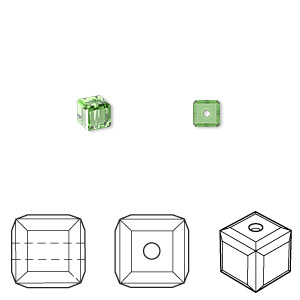 bead, swarovski crystals, crystal passions, fern green, 4x4mm faceted cube (5601). sold per pkg of 48.