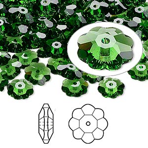 bead, swarovski crystals, crystal passions, fern green, 8x3mm faceted marguerite lochrose flower (3700). sold per pkg of 12.