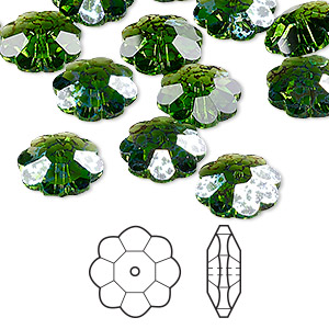 bead, swarovski crystals, crystal passions, fern green white patina, 12x4mm faceted marguerite lochrose flower (3700). sold per pkg of 12.