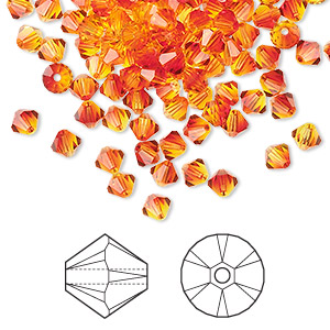bead, swarovski crystals, crystal passions, fireopal, 4mm xilion bicone (5328). sold per pkg of 144 (1 gross).