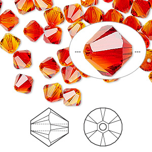 bead, swarovski crystals, crystal passions, fireopal, 6mm xilion bicone (5328). sold per pkg of 144 (1 gross).
