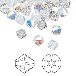 bead, swarovski crystals, crystal passions, frost, 6mm xilion bicone (5328). sold per pkg of 24.