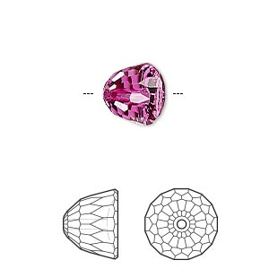 bead, swarovski crystals, crystal passions, fuchsia, 10x8mm faceted dome small (5542). sold per pkg of 6.