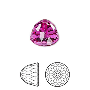 bead, swarovski crystals, crystal passions, fuchsia, 14x11mm faceted dome small (5542). sold per pkg of 6.