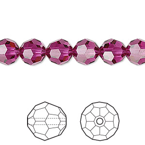 bead, swarovski crystals, crystal passions, fuchsia, 8mm faceted round (5000). sold per pkg of 12.