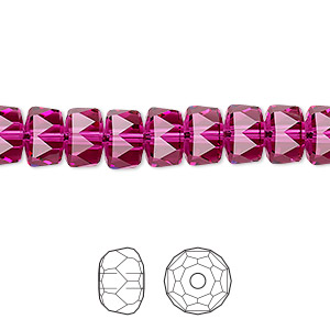 bead, swarovski crystals, crystal passions, fuchsia, 8x5mm faceted rondelle (5045). sold per pkg of 4.