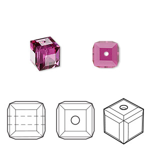 bead, swarovski crystals, crystal passions, fuchsia, 8x8mm faceted cube (5601). sold per pkg of 6.