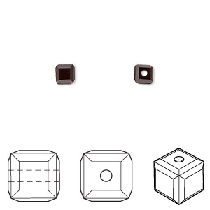 bead, swarovski crystals, crystal passions, garnet, 4x4mm faceted cube (5601). sold per pkg of 12.