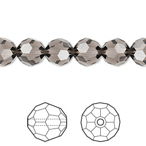 bead, swarovski crystals, crystal passions, greige, 8mm faceted round (5000). sold per pkg of 144 (1 gross).
