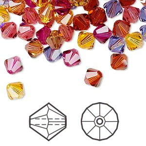 bead, swarovski crystals, crystal passions, heat, 6mm xilion bicone (5328) and faceted bicone (5301). sold per pkg of 24.