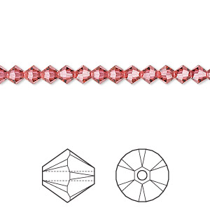bead, swarovski crystals, crystal passions, indian pink, 4mm faceted bicone (5301). sold per pkg of 48.