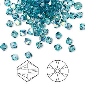 bead, swarovski crystals, crystal passions, indicolite ab, 4mm xilion bicone (5328). sold per pkg of 144 (1 gross).