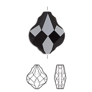 bead, swarovski crystals, crystal passions, jet, 10mm faceted baroque (5058). sold per pkg of 2.
