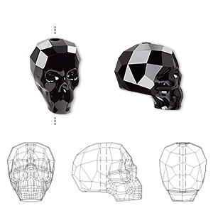 bead, swarovski crystals, crystal passions, jet, 14x13x10mm faceted skull (5750). sold individually.