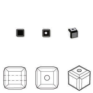 bead, swarovski crystals, crystal passions, jet, 4x4mm faceted cube (5601). sold per pkg of 12.