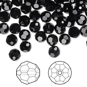 bead, swarovski crystals, crystal passions, jet, 6mm faceted round (5000). sold per pkg of 144 (1 gross).