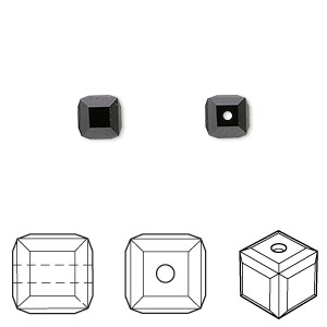 bead, swarovski crystals, crystal passions, jet, 6x6mm faceted cube (5601). sold per pkg of 6.