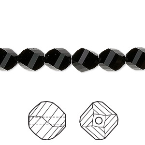 bead, swarovski crystals, crystal passions, jet, 8mm faceted helix (5020). sold per pkg of 12.