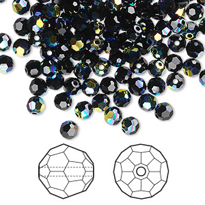 bead, swarovski crystals, crystal passions, jet ab, 4mm faceted round (5000). sold per pkg of 144 (1 gross).